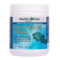 Healthy Care Cod Liver Oil 1000mg 200 Softgel Capsules