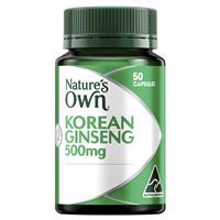 Nature's Own Korean Ginseng 500mg 50 Capsules