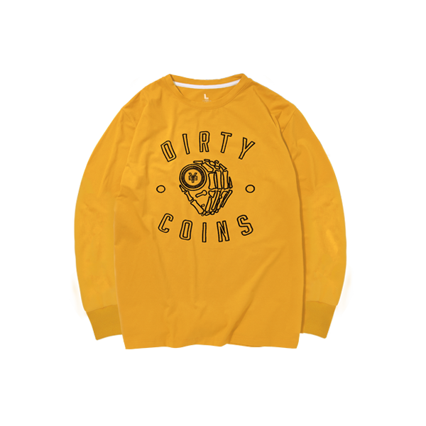'Dirty Coins' long sleeve with big logo ( Yellow )