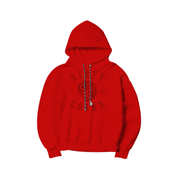 'Dirty Coins' logo hoodie ( Red )