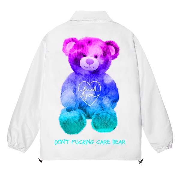 BEAR DON'T CARE OVER-PRINTED JACKET (White)