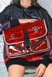 RED WHITE-WORDING SHOULDER BAG