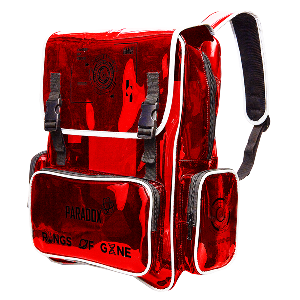 RED BLACK-WORDING BACKPACK