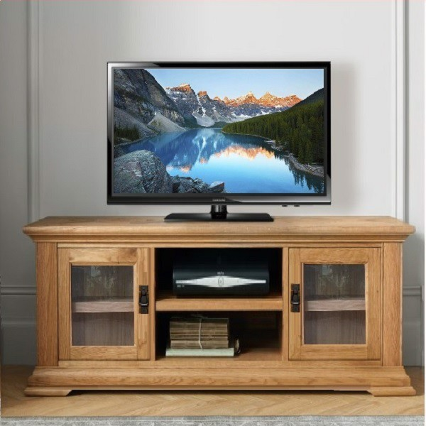 TV 120cm – Kệ Ti Vi , CD + 2 Cánh Kính French Oak
