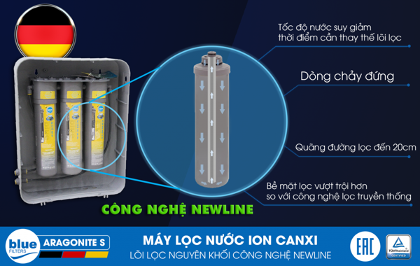 MÁY LỌC NƯỚC ION CANXI BLUEFILTERS ARAGONITE H3 - Made in Germany
