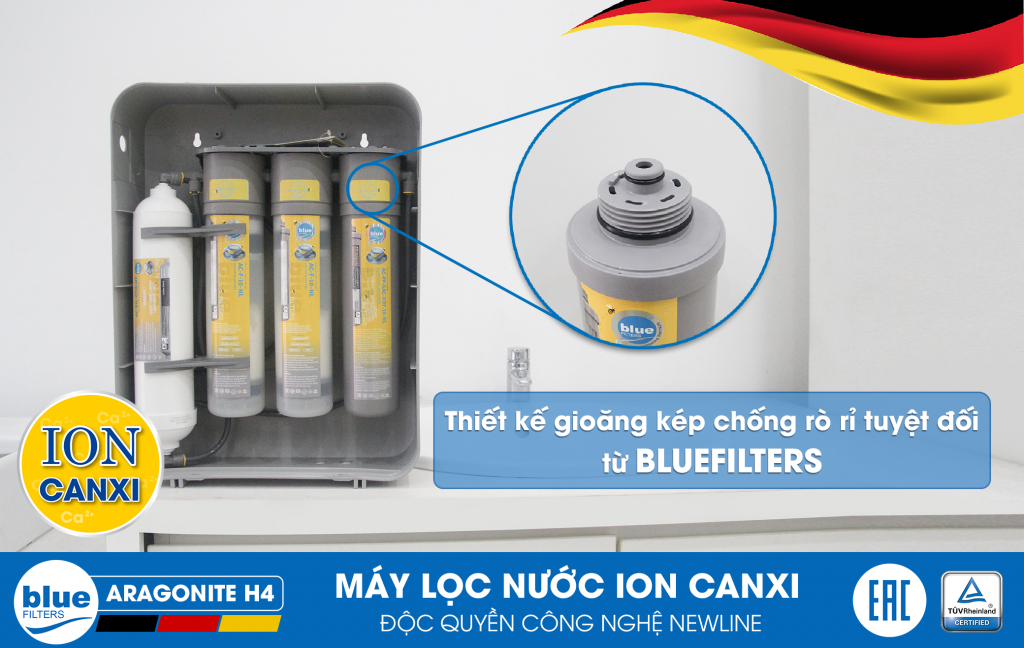 MÁY LỌC NƯỚC ION CANXI BLUEFILTERS ARAGONITE H4 - Made in Germany