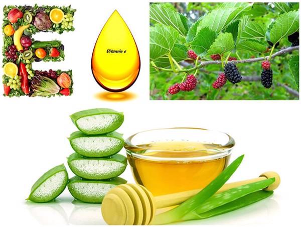 Tocopherol – dẫn xuất vitamin E, Lô Hội và Dâu Tằm là những thành phần có khả năng dưỡng trắng và mờ thâm nám hiệu quả