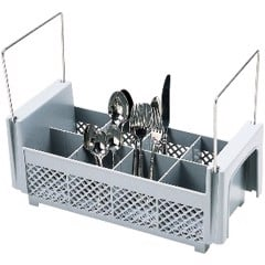 Soft Gray, Half Flatware Basket with Handles