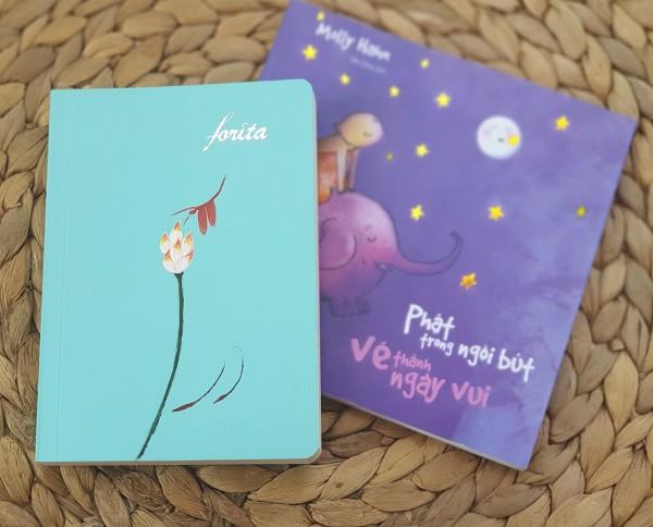 Sổ tay ghi chép mini Forita nhỏ - Chuồn chuồn và hoa sen