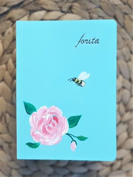 sổ tay ghi chép mini Forita nhỏ - ong và hoa hồng