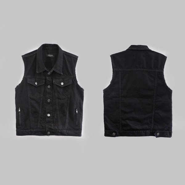 Black Sleeveless Denim Jacket
