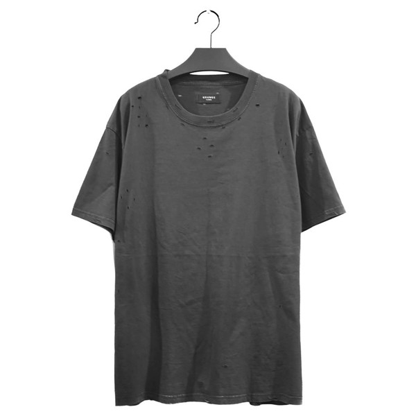 GREY WASHED ESSENTIALS DISTRESSED BASIC TEE