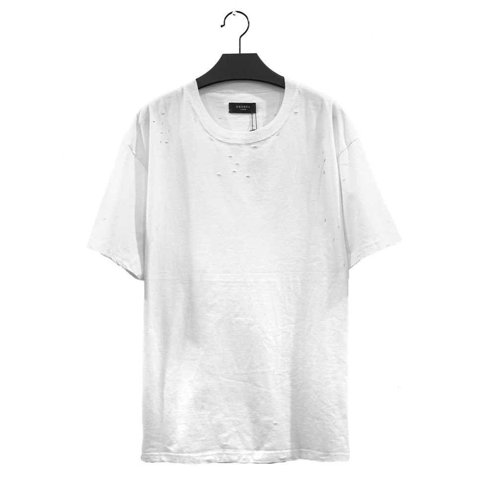 WHITE ESSENTIALS DISTRESSED BASIC TEE