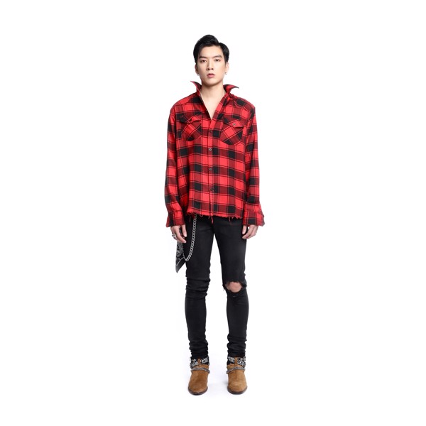 Black/Red Flannel Shirt