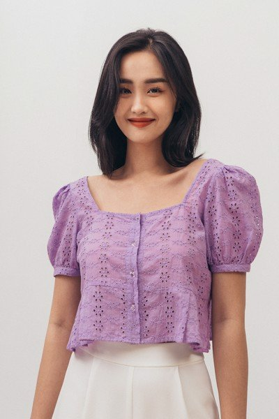 Purple Embroidered Blouse