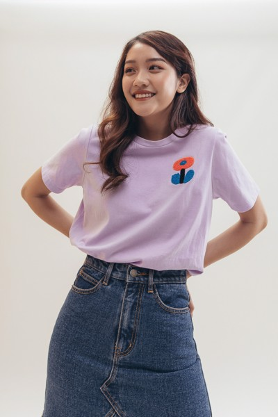 Embroidered T-shirt - Purple