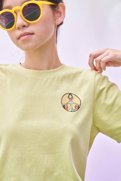 Peace Sign T-shirt- Light Yellow
