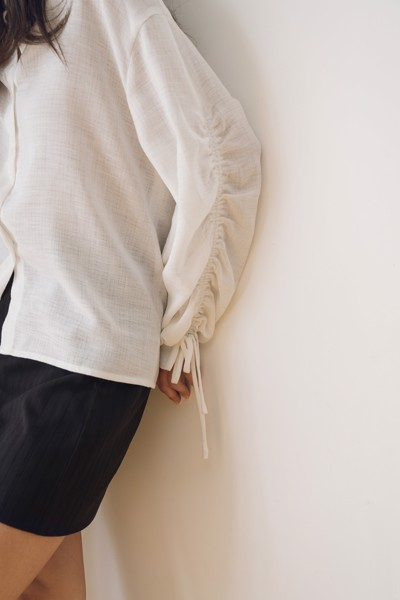 White Drawstring Linen Shirt