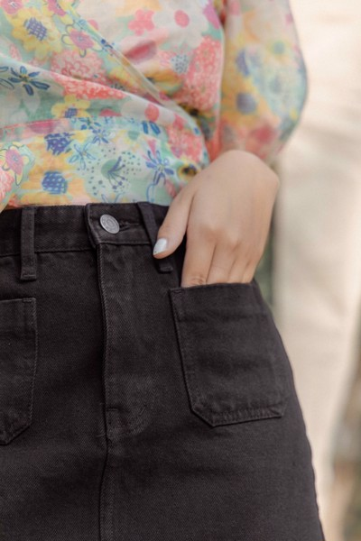 Denim Mini Skirt - Black