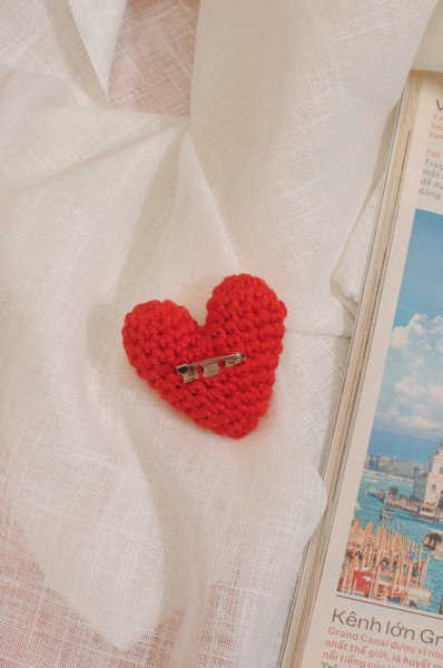 Crochet Heart Pin