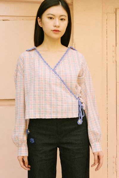 Checked Blouse With Handmade Crochet Details
