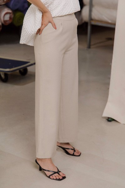 Straight Leg Trousers - Beige