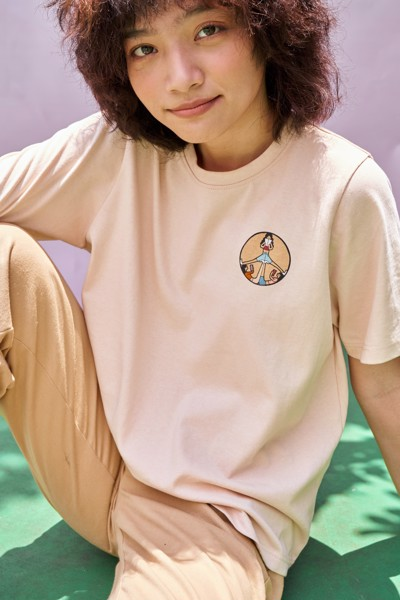 Peace Sign T-shirt- Beige
