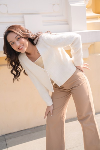 Ivory Cropped Tweed Blazer
