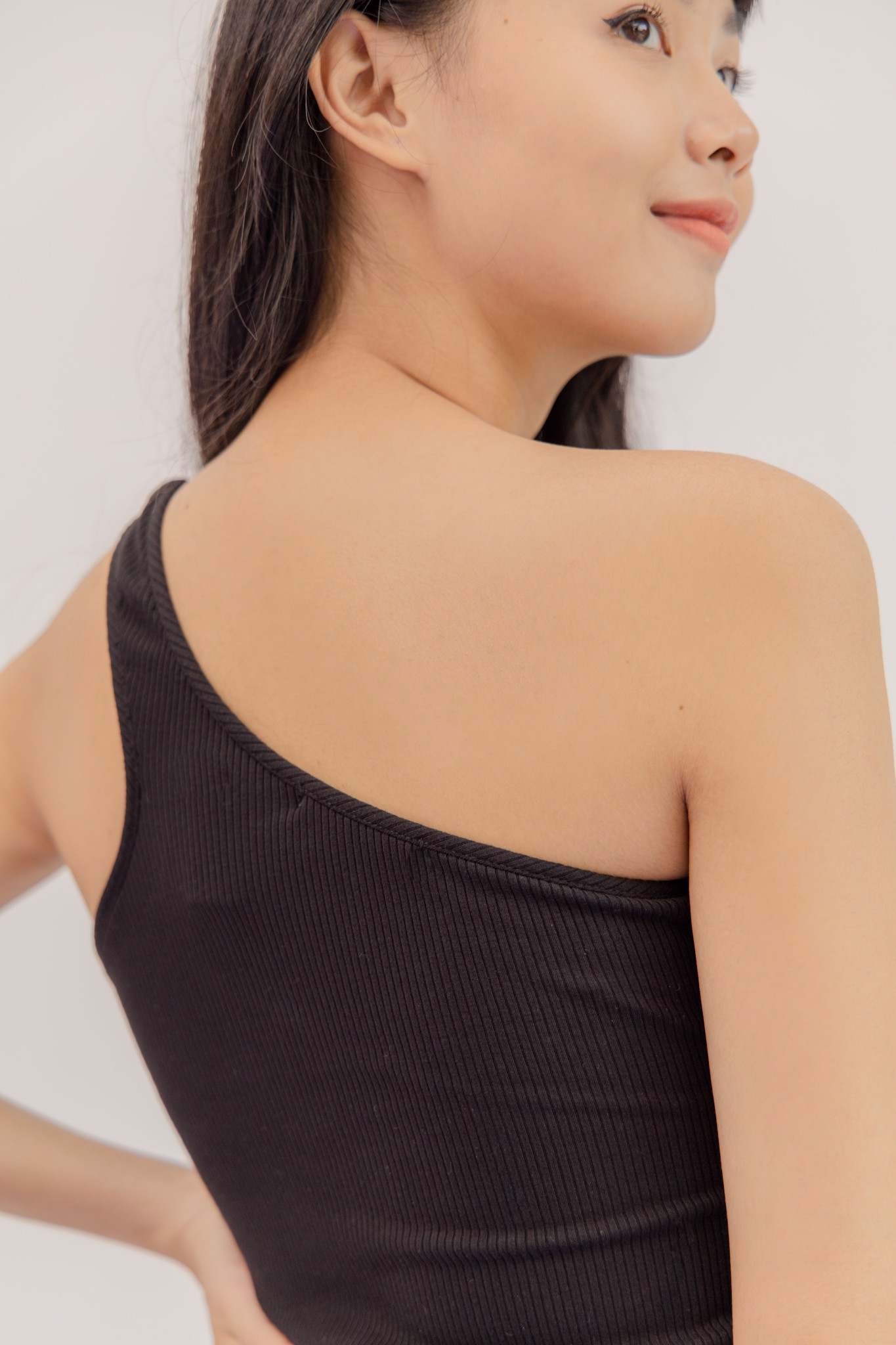 One Shoulder Top- Black