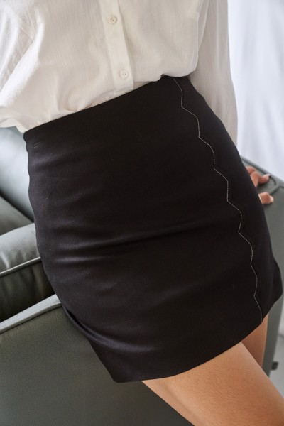 Black Mini Skirt With Scallop Details