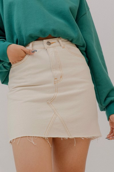 Ivory Denim Mini Skirt
