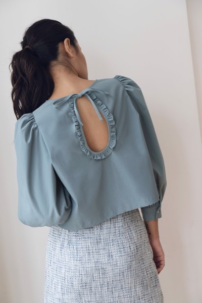 Light Blue Puff Sleeve Blouse