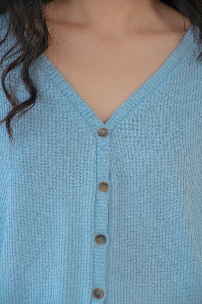 Blue Cropped Cardigan
