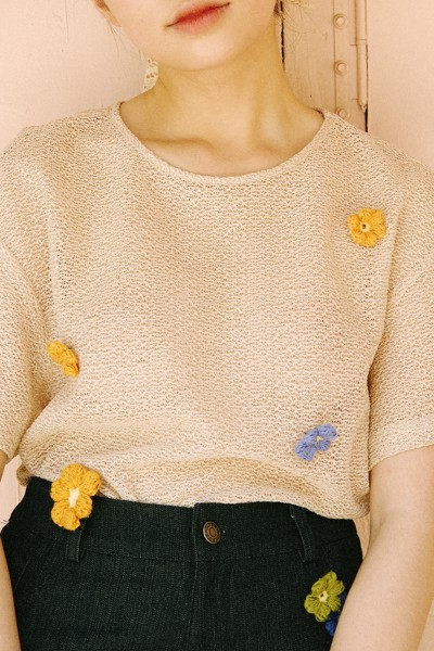 Crochet Top With Removable Flower Pins