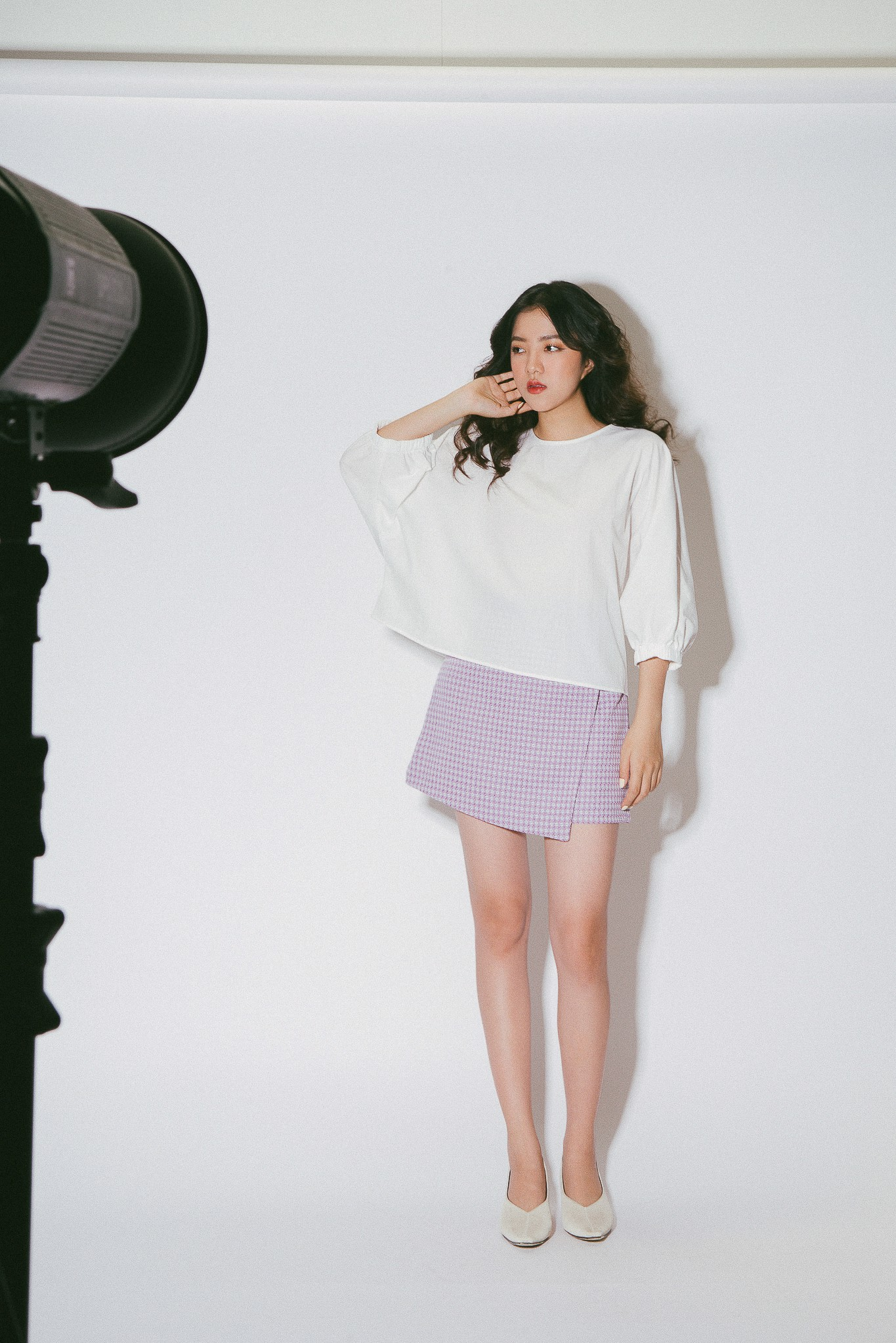 White Batwing Sleeves Top