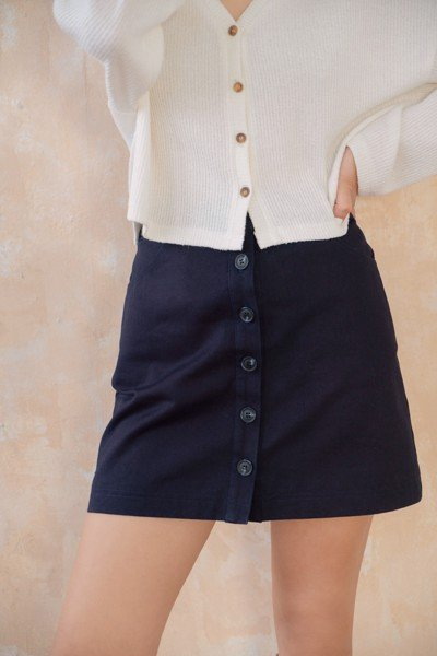 Navy Khaki Mini   Skirt