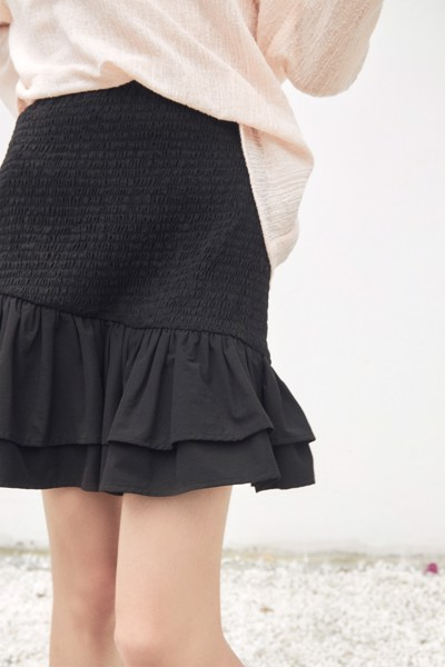 Black Smocked Mini Skirt With Ruffle