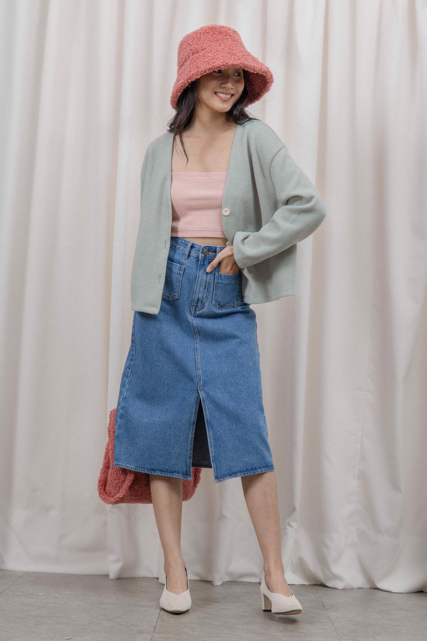 Denim Midi Skirt- Light Blue