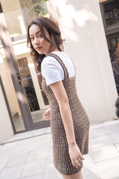 Brown Tweed Mini Dress