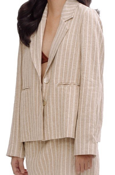 Stripped Linen Blazer