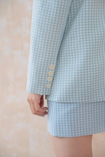 Blue Gingham  Oversized Blazer