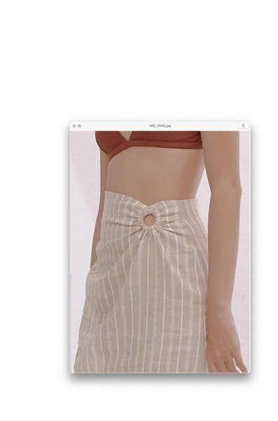 Stripped Linen Mini Skirt With Ring