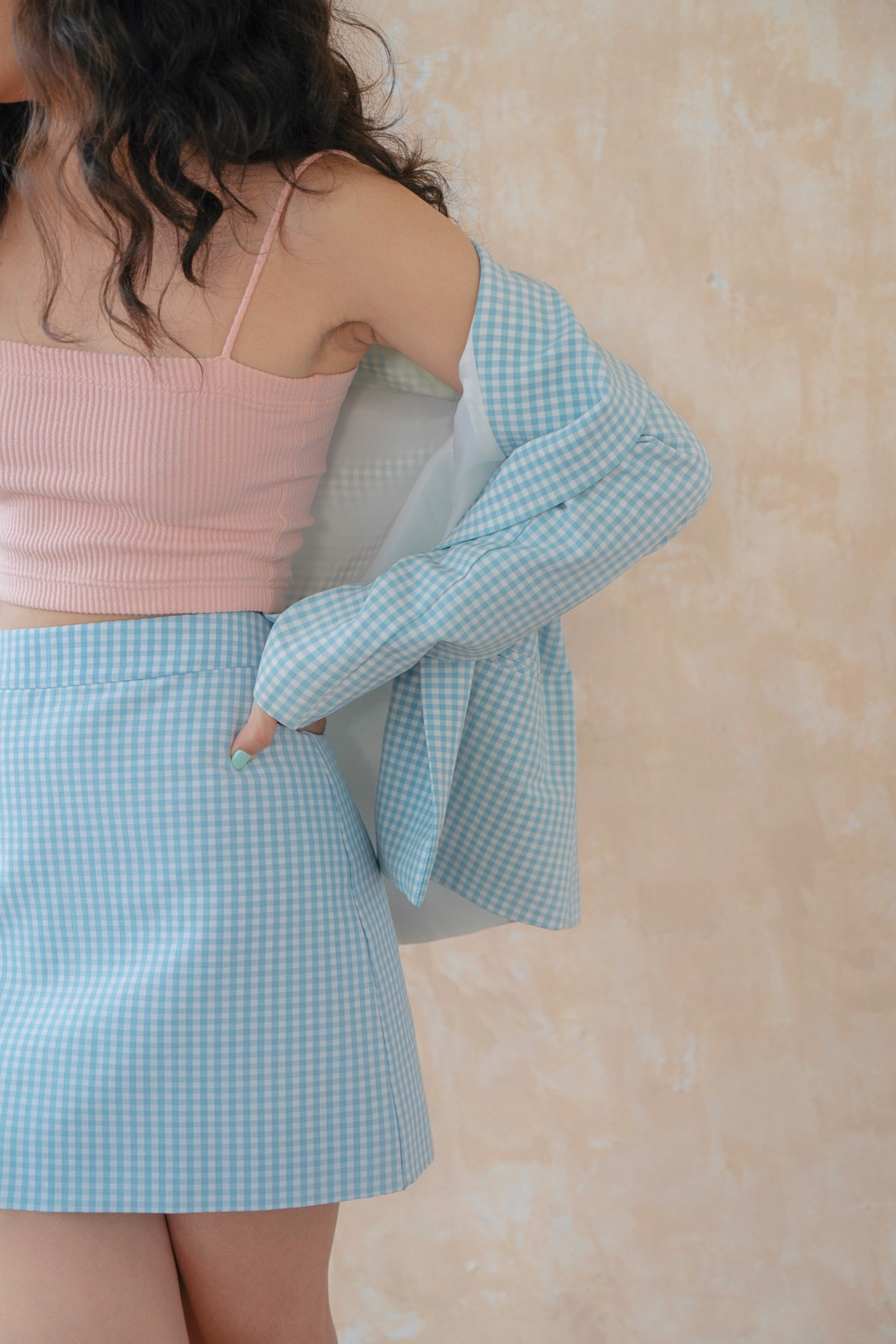Gingham Mini  Skirt - Blue