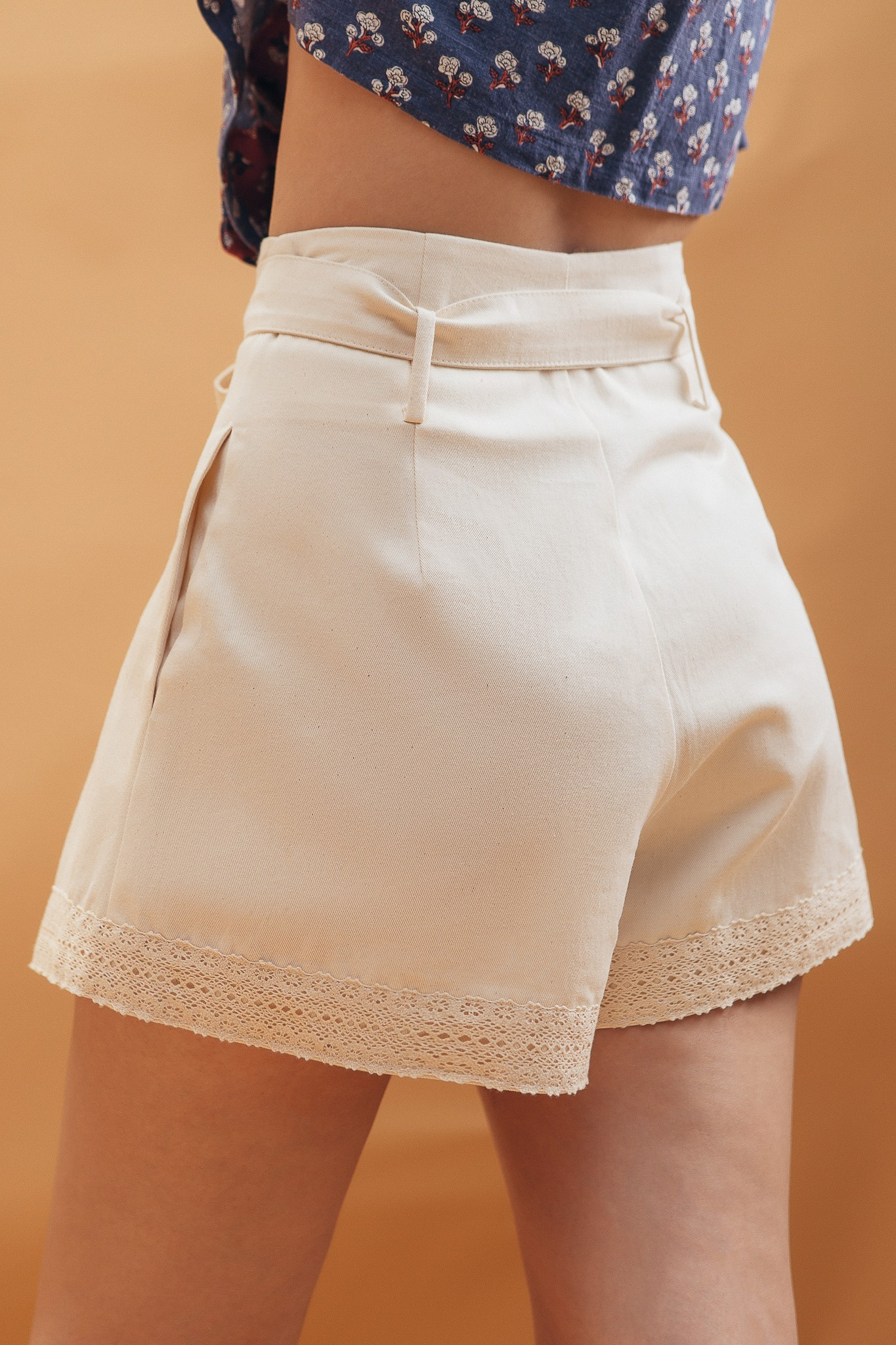 Ivory Lace Trimming Shorts