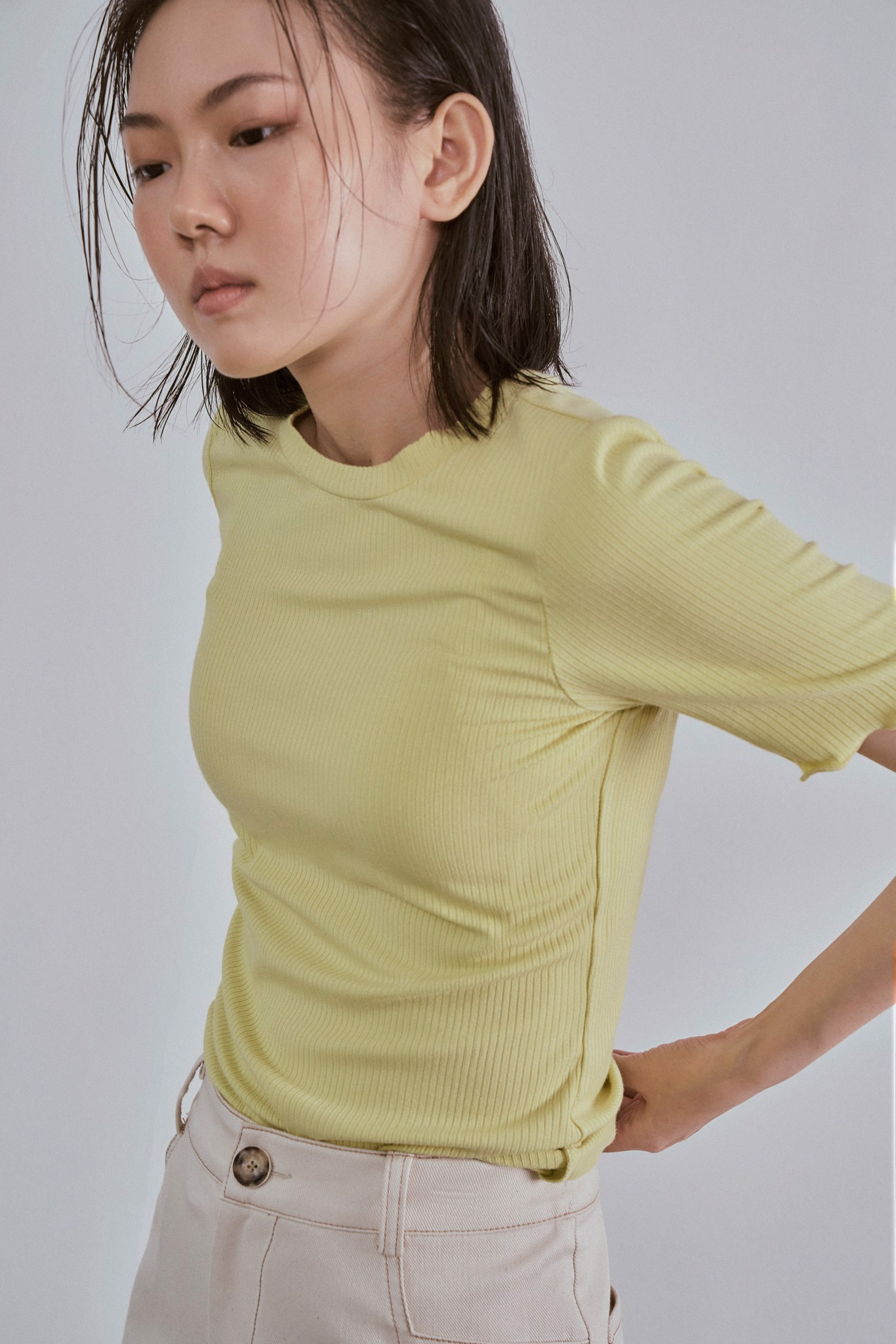 Lime Fitted Short Sleeve Top
