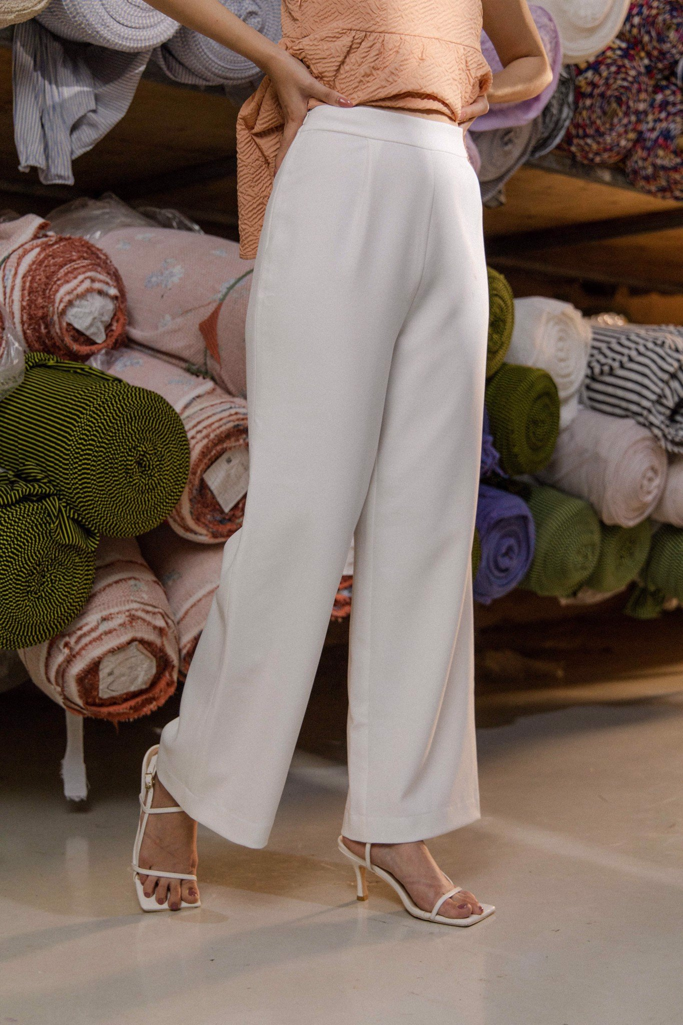 Straight Leg Trousers - White