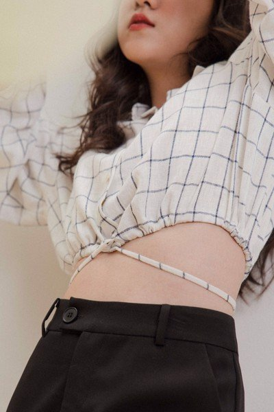 Checked Linen Cropped Shirt