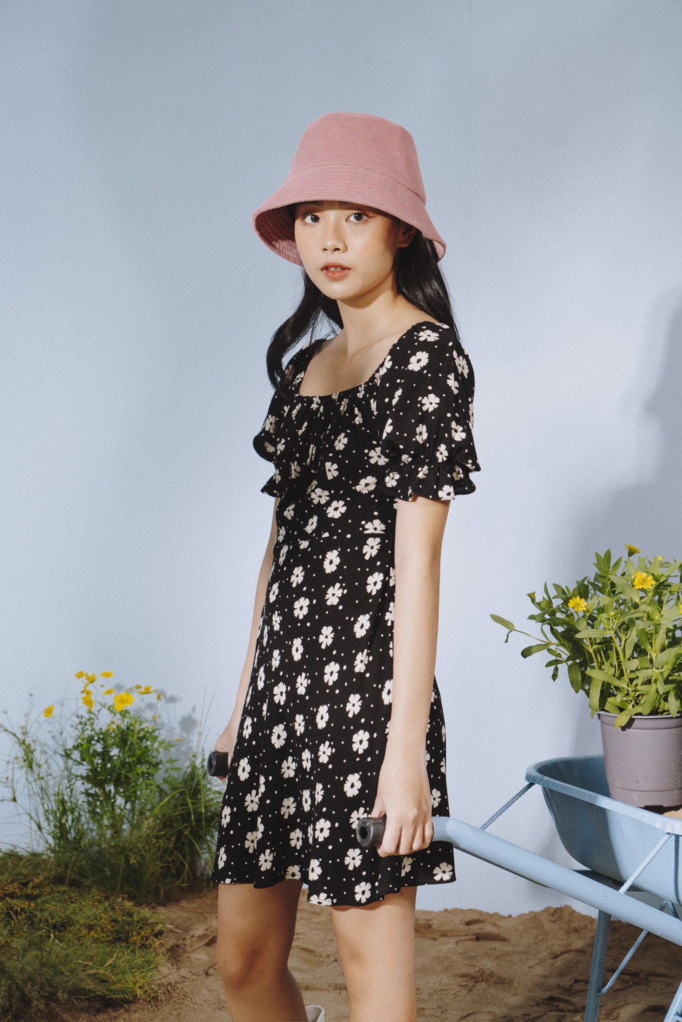 Floral Square Neck Dress
