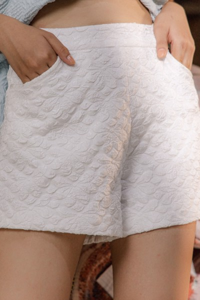 White Jacquard Shorts