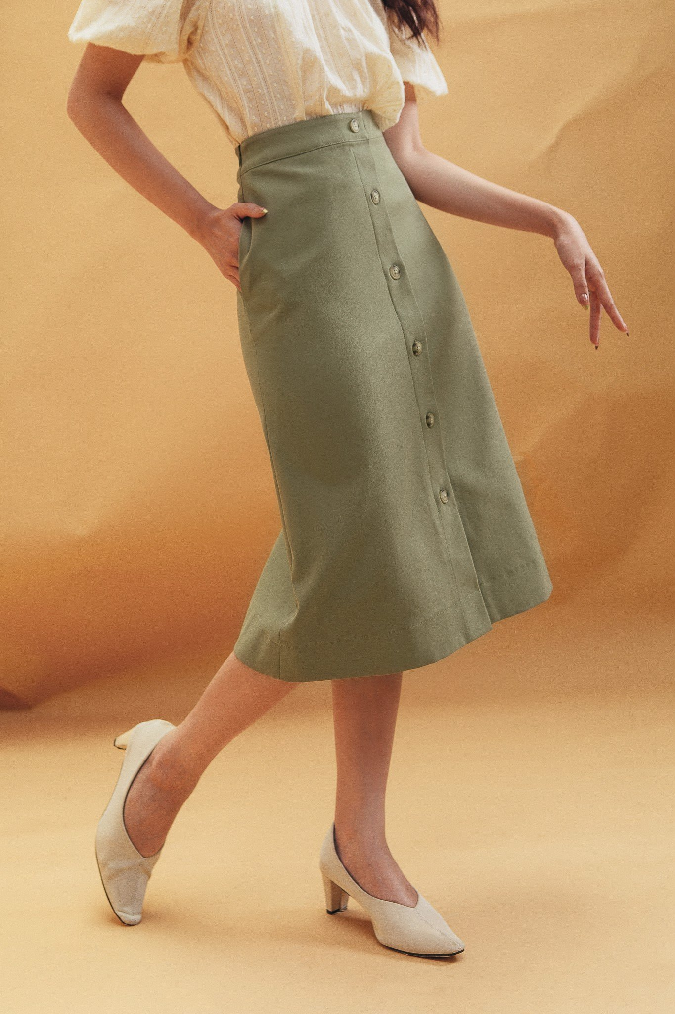 Olive Midi Skirt With Buttons